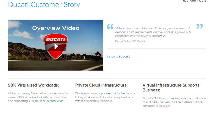 Case Study Tips: Examples of how not-to-waste your customer success stories (w/ best practices) - VMWare - Ducati - Success Story Page