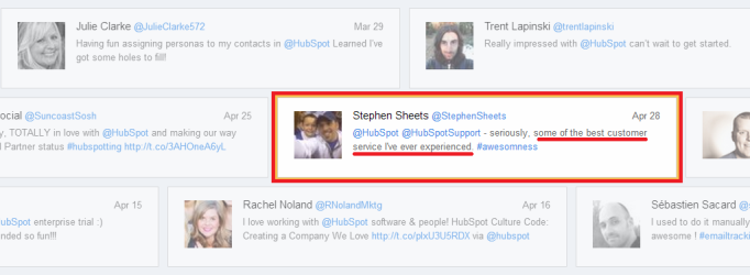 Social Proof Marketing: user-generated-content vs. company-generated-content  hubspot_tweet_example1